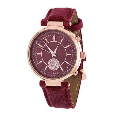 Fortune NYC Boyfriend Women's Rosetone CZ Dial/ Red Leather Strap Watch