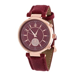 Fortune NYC Boyfriend Women's Rosetone CZ Dial/ Red Leather Strap Watch