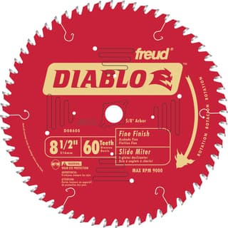 "Diablo D0860S 8-1/2"" 60T Diablo Fine Finish Work Miter/Slide Miter Saw Bl