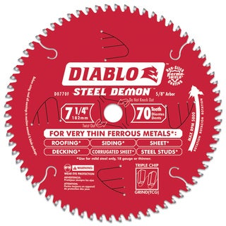 "Diablo D0770F 7-1/4"" 70T Diablo Steel Demon Metal Circular Saw Blade"