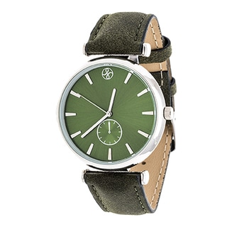Fortune NYC Women's Boyfriend Silvertone Green Dial/ Green Leather Strap Watch