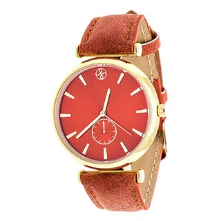 Fortune NYC Boyfriend Women's Goldtone Orange Dial/ Orange Leather Strap Watch