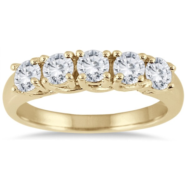 Marquee Jewels 14K Yellow Gold 1 CTW Prong Set 5-stone Diamond Band