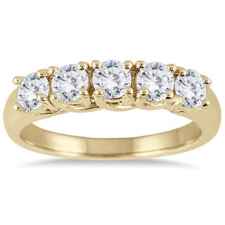 Marquee Jewels 14K Yellow Gold 1 CTW Prong Set 5-stone Diamond Band|https://ak1.ostkcdn.com/images/products/11635860/P18569392.jpg?impolicy=medium