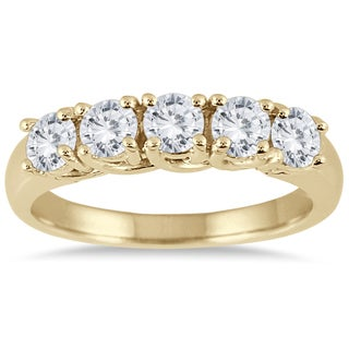 Marquee Jewels 14K Yellow Gold 1 CTW Prong Set 5-stone Diamond Band (3 options available)