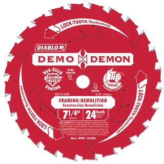 "Diablo D0724DA 7-1/4"" 24T Diablo Demo Demon Framing & Demolition Saw Blade"