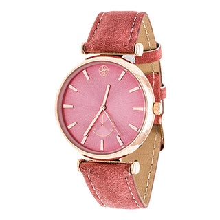 Fortune NYC Women's Rosetone Boyfriend Red Dial/ Red Leather Strap Watch