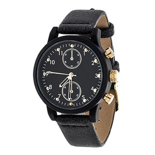 Xtreme NYC Boyfriend Women's Black Case and Dial/ Black Leather Strap Watch