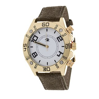 Zunammy Men's Gold Case with Brown Leather Jeans Strap Watch