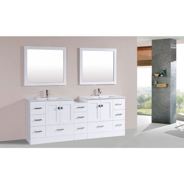 Shop 84 inch redondo white double modern vanity with side cab and int sinks pls free shipping for 84 inch white bathroom vanity