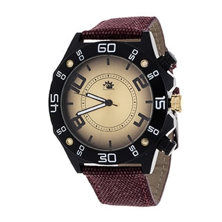 Zunammy Men's Black Case with Red Leather Jeans Strap Watch