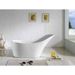 Venetian 67-inch x 29-inch White Oval Soaking Bathtub