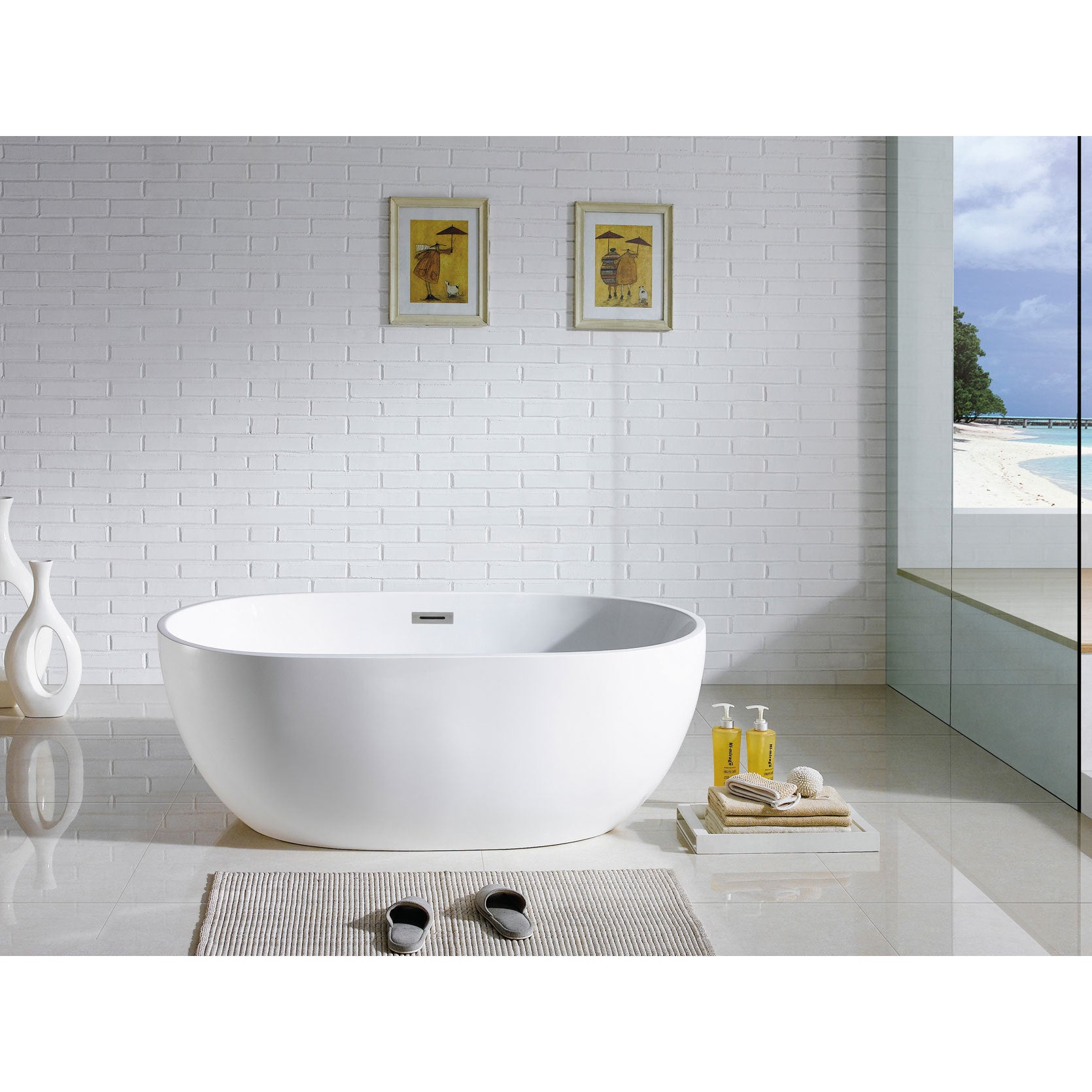 Pacific Collection Tropicana 60-inch x 30-inch White Oval...