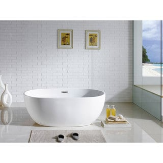 Tropicana 60 Inch X 30 Inch White Oval Soaking Bathtub