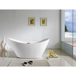 Riviera 67-inch x 28-inch White Oval Soaking Bathtub