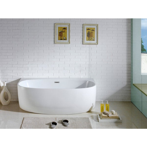 Monte 58-inch x 33-inch White Oval Soaking Bathtub - Free Shipping ...