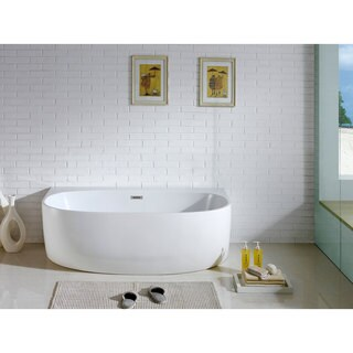 "Monte 58"" x 33"" White Oval Soaking Bathtub"