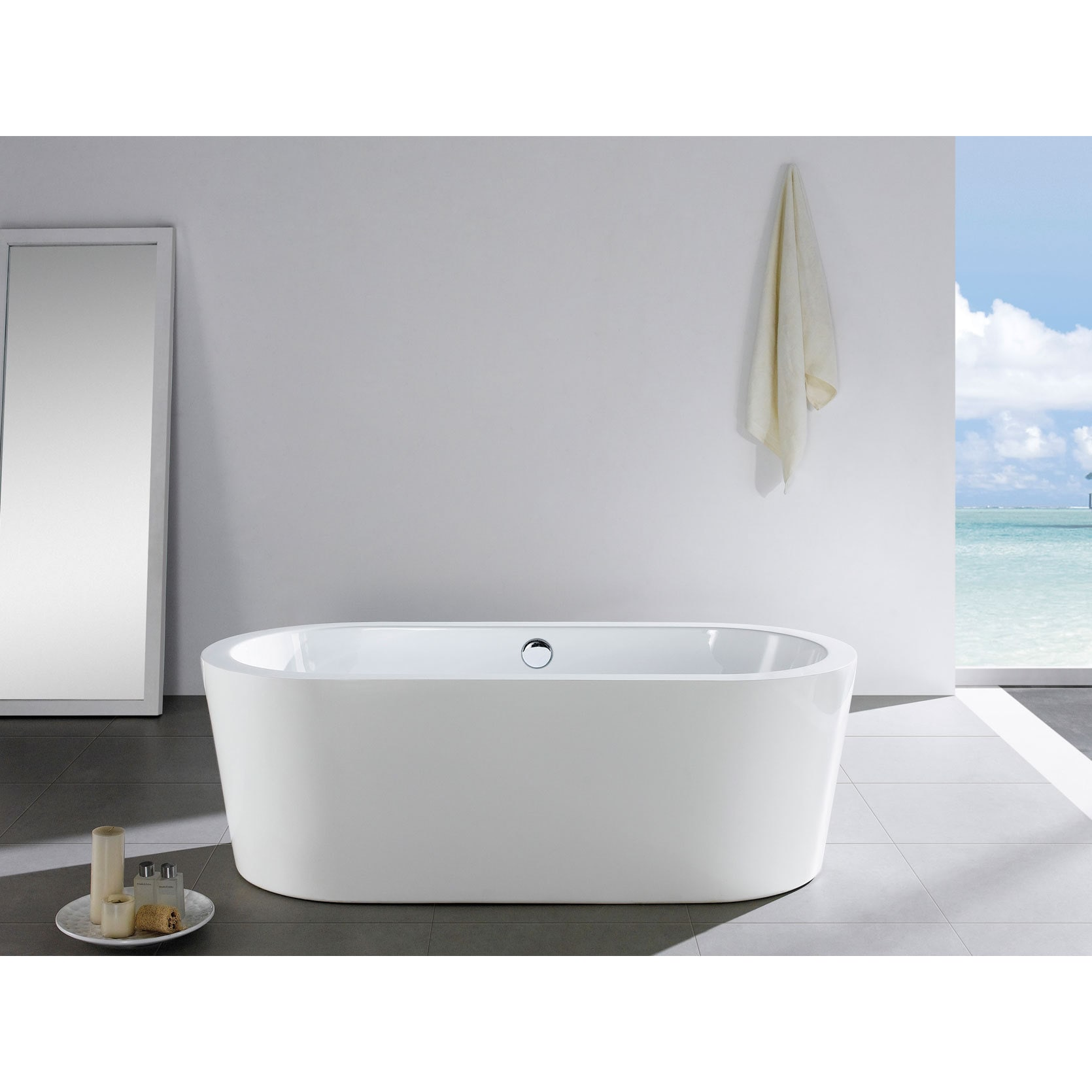 Pacific Collection Mandalay 58-inch x 29-inch White Oval ...