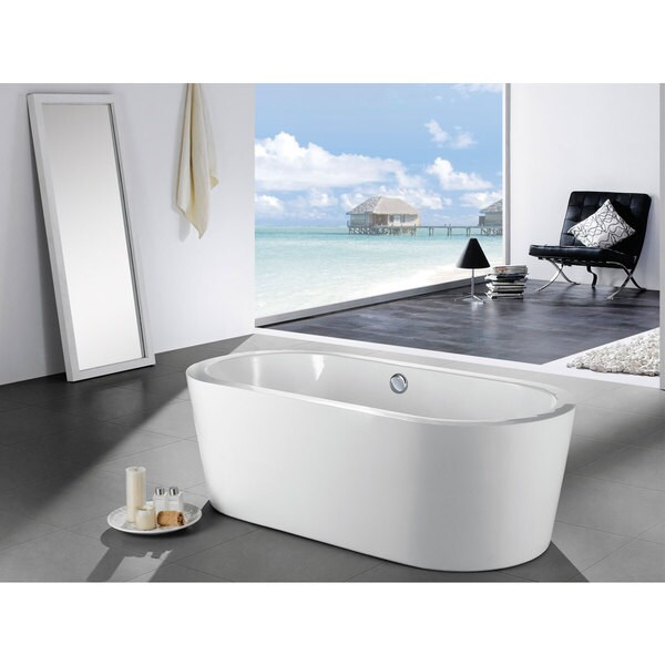 Mandalay 58 Inch X 29 Inch White Oval Soaking Bathtub   Free Shipping Today    Overstock.com   18569770