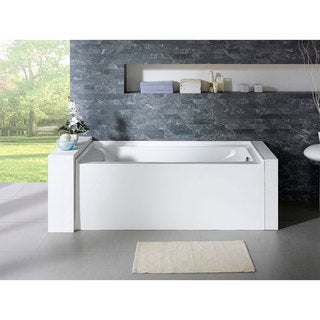 Delano 59-inch x 32-inch White Rectangle Alcove Soaking Bathtub (Right)