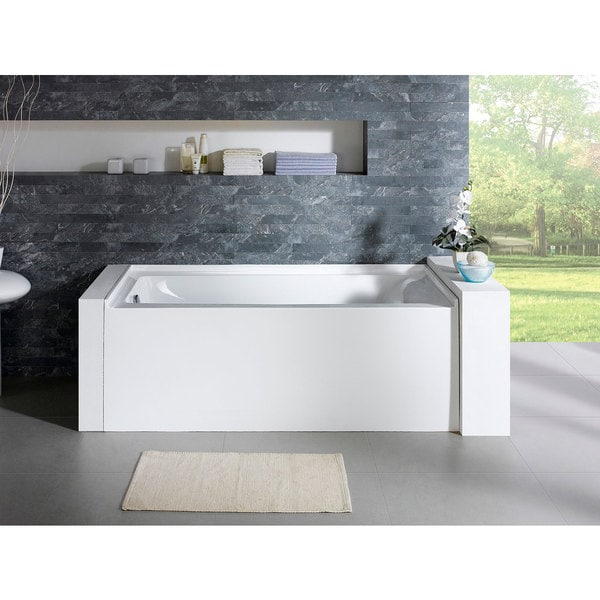Delano 59 inch x 32 inch white rectangle alcove soaking for Deep soaking tub alcove