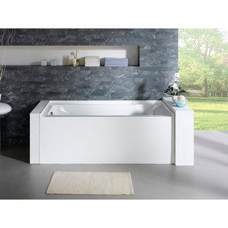 Delano 59-inch x 32-inch White Rectangle Alcove Soaking Bathtub (Left)