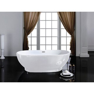 Cromwell 67-inch x 32-inch White Oval Soaking Bathtub
