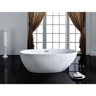Cosmo 66-inch x 33-inch White Oval Soaking Bathtub