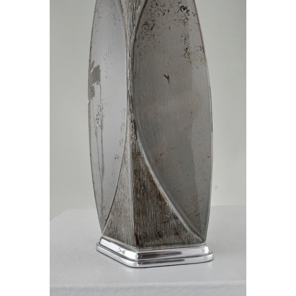 Table Lamp with Weathered Charcoal Base and Grey Empire Shade