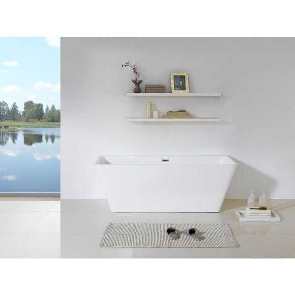 "Bellagio 58"" x 28"" White Rectangle Soaking Bathtub"