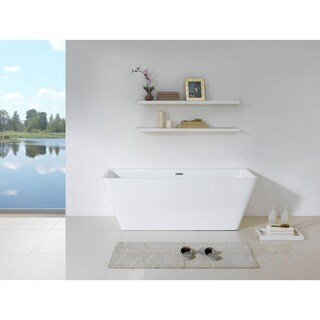 Bellagio 58-inch x 28-inch White Rectangle Soaking Bathtub