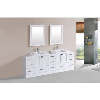 84-inch Redondo White Double Modern Vanity with 3 Side Cabs and Int Sinks