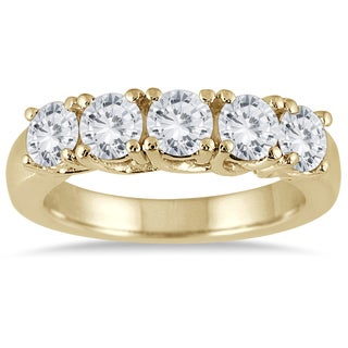 Marquee Jewels 14K Yellow Gold 2 CTW Prong Set 5-stone Diamond Band
