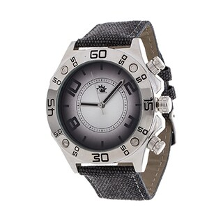 Zunammy Men's Silver Case with Grey Leather Jeans Strap Watch