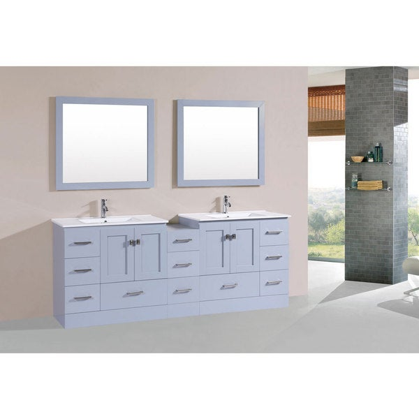 84 Inch Redondo Grey Double Modern Vanity With Side Cab And Int Sinks Pls F