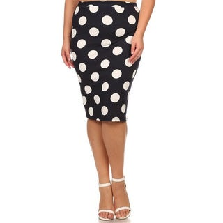MOA Collection Plus Polka Dot Pencil Skirt (Option: White)