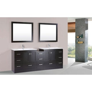 84-inch Redondo Espresso Double Modern Vanity with Side Cab and Int Sinks Pls