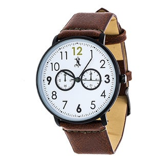 Brooklyn Exchange Men's Black Case and White Dial with Brown Leather Strap Watch