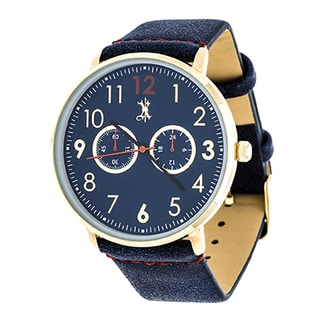 Brooklyn Exchange Men's Gold Case and Blue Dial with Blue Leather Strap Watch