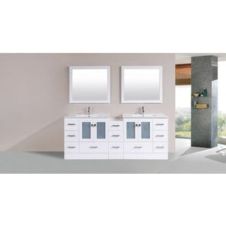 84-inch Hermosa White Double Modern Vanity with Side Cab and Int Sinks Pls