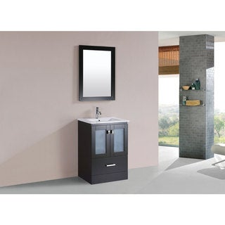 24-inch Hermosa Espresso Single Modern Vanity with Integrated Sink