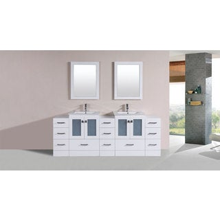 84-inch Hermosa White Double Modern Vanity with 3 Side Cabs and Int Sinks