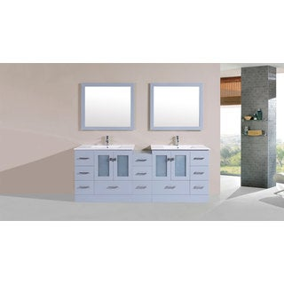 84-inch Hermosa Grey Double Modern Vanity with Side Cab and Int Sinks Pls