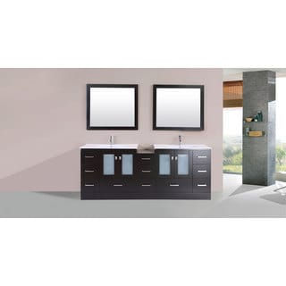 84-inch Hermosa Espresso Double Modern Vanity with Side Cab and Int Sinks Pls