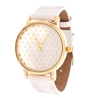 Fortune NYC Women's Gold Polka Dot W/ White Leather Strap Watch