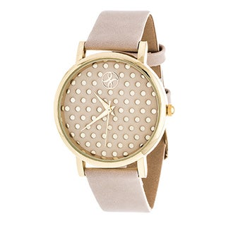 Fortune NYC Women's Gold Polka Dot dial W/ Beige Leather Strap Watch