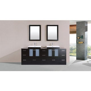 84-inch Hermosa Espresso Double Modern Vanity with 3 Side Cabs and Int Sinks