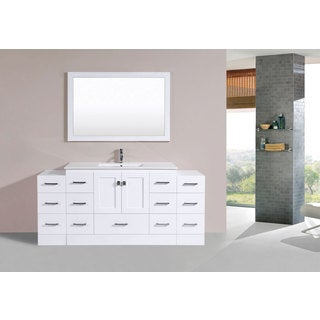 72-inch Redondo White Single Modern Vanity with 2 Side Cabs and Int Sink