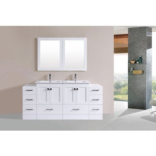 72-inch Redondo White Double Modern Vanity with 2 Side Cabs and Int Sinks