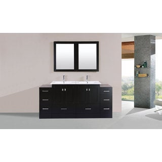 72-inch Redondo Espresso Double Modern Vanity with 2 Side Cabs and Int Sinks
